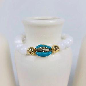 GEMSTONE | White Jade aBlue Shell Beaded Bracelet